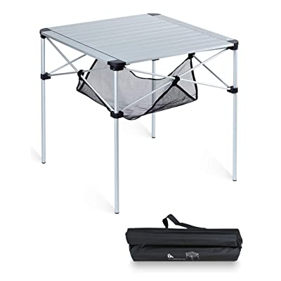 iClimb Lightweight Stable Aluminum Folding Square Table 4 People Roll Up Top with Carry Bag for Camping, Picnic, Backyards, BBQ: Kitchen & Dining