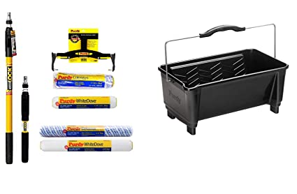 Purdy Ultimate Paint Roller Kit Two Polls 12 18 Inch Frame 12 And 18 Inch Colossus And White Dove Roller Sleeves With Dual Roll Off Paint Roller