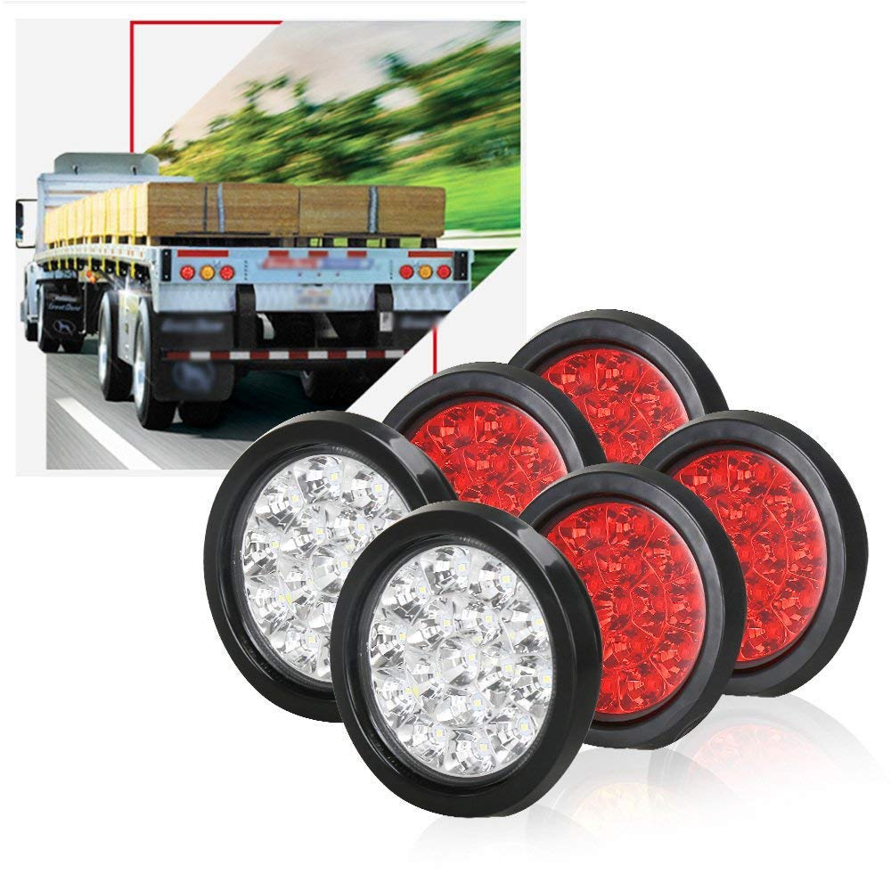TOPPOWER 4-Inch Round LED Truck/Trailer Taillights with Rubber Grommet 4RED+2WHIET 16LED Stop/Turn/Brake/Reverse/Back up Lights LED Trailer Side Maker Lamps Waterproof 12/24V(6Pcs) by TOPPOWER