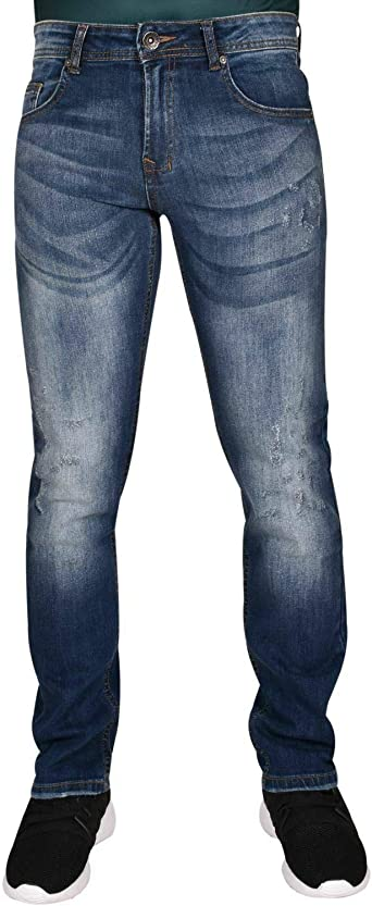 Men Slim Fit Ripped Jeans Stretchable Treated Denim Zip Fly Cotton Pants Trouser