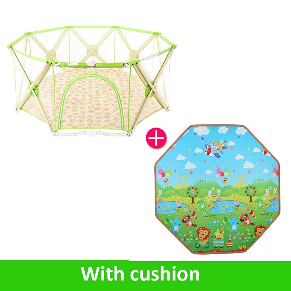 QFFL ベビーサークル クロールマットとキャリングケース付き幼児のメッシュ軽量屋内野外活動センターのためのベビープレイタイプ、ポータブル&折りたたみ式プレイヤード - (Green)Play Fence キッズランド (Color : Green-b)  Green-b B07THSZ337