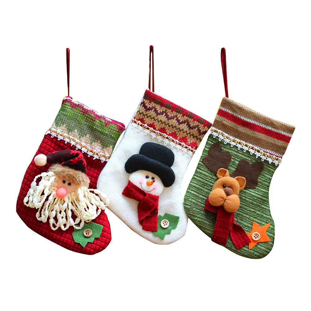 MMTX Weihnachten Deko, Weihnachtsstrumpf Set von 3 Bestickt Santa ...