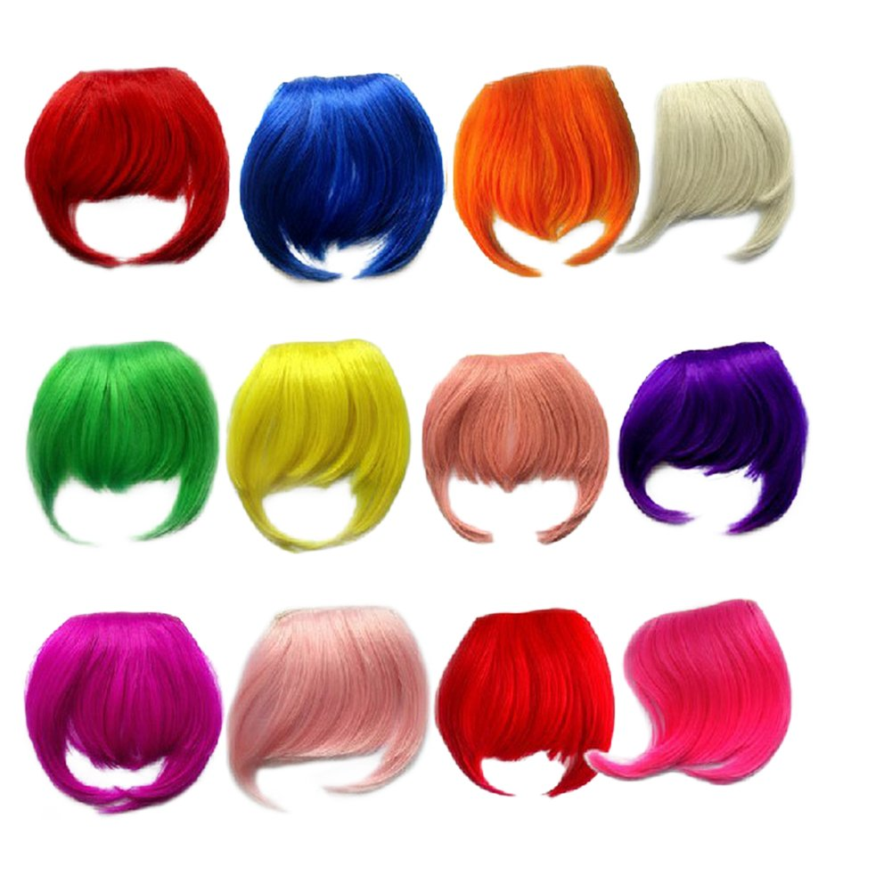 TEEMI-Clip in Bangs Extensions One Piece Straight Air Fringe Hair Piece Accessories Bangs 8 Colors Party (Green)