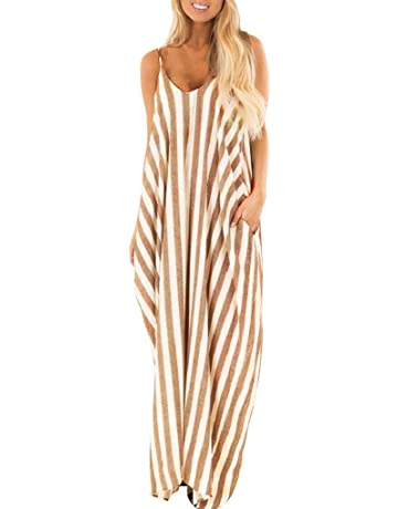 f6dca6732f Daylin Bohemia Daily Elegant Women Summer Holiday Strappy Striped Long Boho  Dress Beach Maxi Dress Sundress