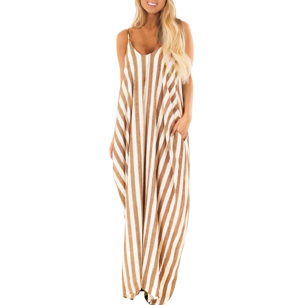 Women Summer Dress Loose Sleeveless Pleated Striped Strappy with Both Side Pockets Sundress
