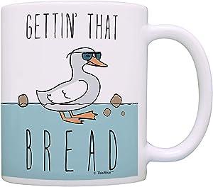 Funny Duck Mugs Gettin That Bread Punny Duck Mug Coworker Office Gifts Pun Coffee Mug Tea Cup Multi