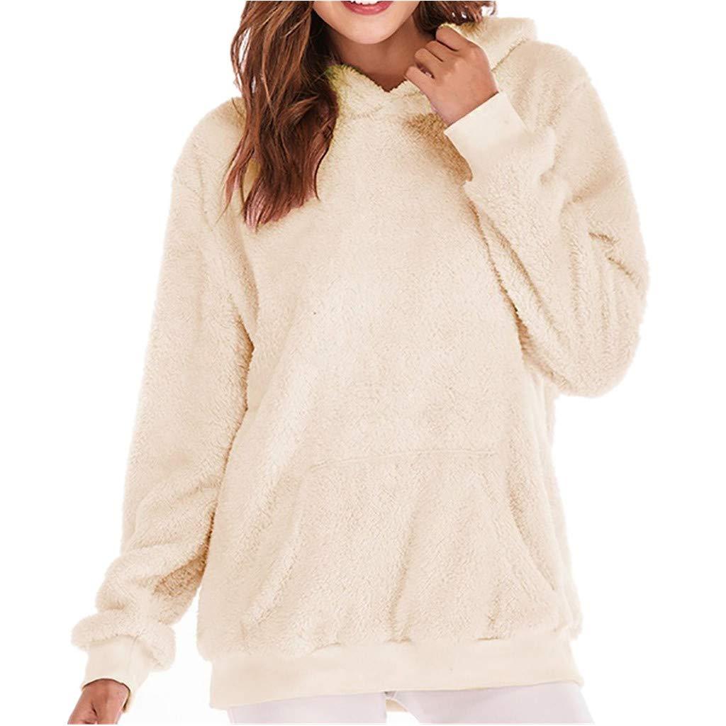 KUDICO Damen Mantel Herbst Winter warme Faux Wolle Reißverschlusstaschen Baumwolle Bluse Outwear Kapuzenpullover Tops, Angebote!
