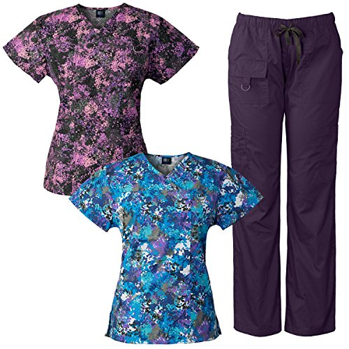 Medgear 3-Piece Women's Scrubs Set Multi-Pocket Tops & Pants, Medical - Cute Scrub