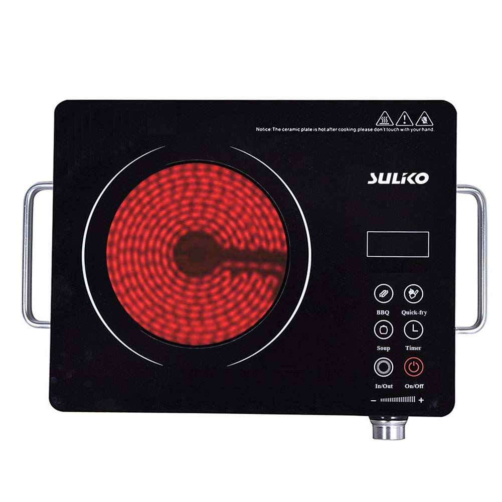 Suliko Electric Cooktop, 1800W Portable Countertop Burner, Sensor Touch Electric Induction Cooktop Countertop Burner Suitable Iron, Stainless Steel, Glass, Ceramic Cookware