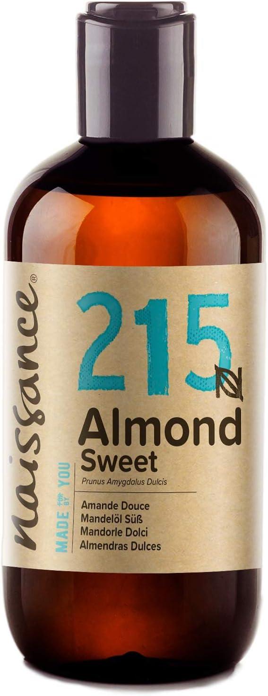 Naissance Aceite de Almendras Dulces n. º 215 – 250ml - 100% natural para humectar y equilibrar la piel, hidratar el cabello y todo el cuerpo.