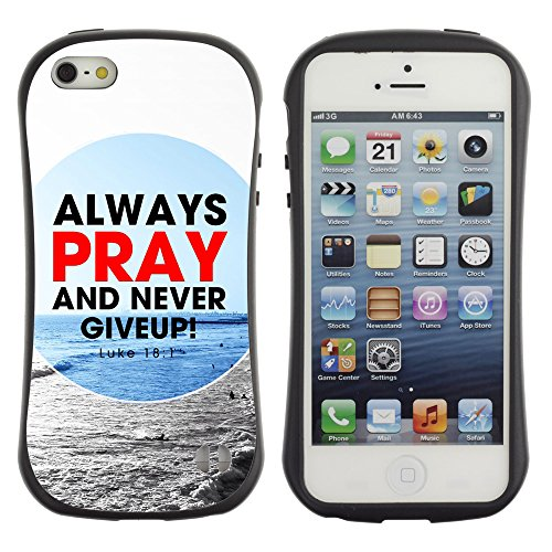 DREAMCASE Citation de Bible Silicone et Rigide Coque Protection Image Etui solide Housse T¨¦l¨¦phone Case Pour APPLE IPHONE 5 / 5S - ALWAYS PRAY AND NEVER GIVE UP! - LUKE 18:1
