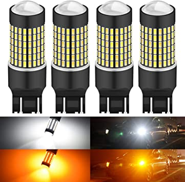 Pack of 2 White//Amber AUXLIGHT 7443 7443LL 7444NA T20 Switchback LED Bulbs 16SMD Chipsets Parking Lights//Daytime Running Lights//DRL and Turn Signal Lights with Projector replacement