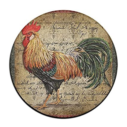 Rooster Art Round Home Doormat Entrance Entry Way Front Door Mat Ground  23.6 Inch Rugs For