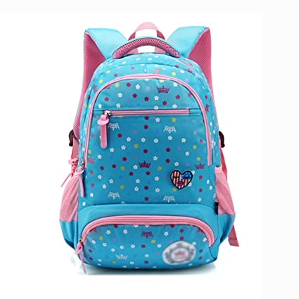 XHHWZB Primary School Bag Backpack for Girls 7-12 Years Old, Waterproof Nylon Travel