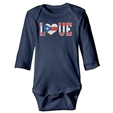 I Love Puerto Rico Baby Boy Long Sleeve Romper Jumpsuit Toddler Jumpsuit