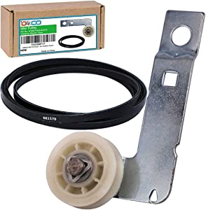 DIKOO 661570 Dryer Drum Belt with W10837240 Dryer Idler Pulley with Bracket Kit for Maytag, Kenmore, Admiral Clothes Dryers