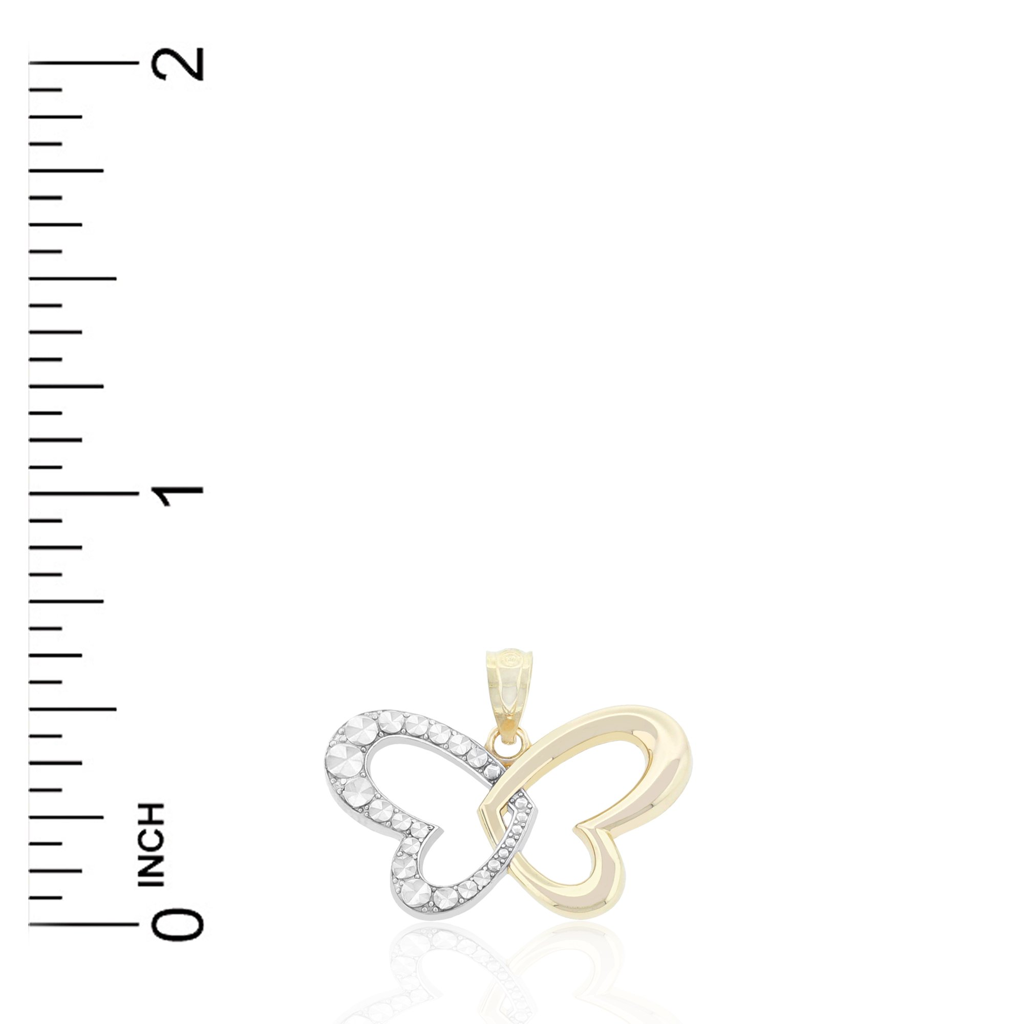Charm America - Gold Heart Winged Butterfly Charm - 10 Karat Solid Gold by Charm America (Image #2)
