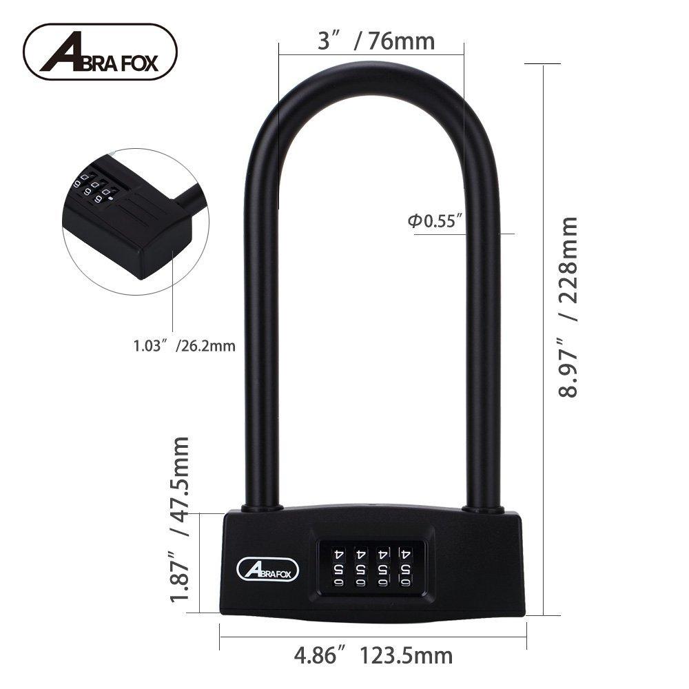 ABRA FOX Bicycle Lock Heavy Duty Combination U Lock Cable Bike Lock Anti Cut
