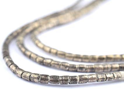 White Tiny Heishi Ethiopian Beads 1mm African Silver White Metal Handmade