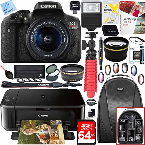 Canon EOS Rebel T6i Digital SLR Camera with EF-S 18-55mm IS STM Lens and Canon Pixma MG3620 Wireless Inkjet All-In-One Multifunction Photo Printer 64GB Accessory Bundle by Canon