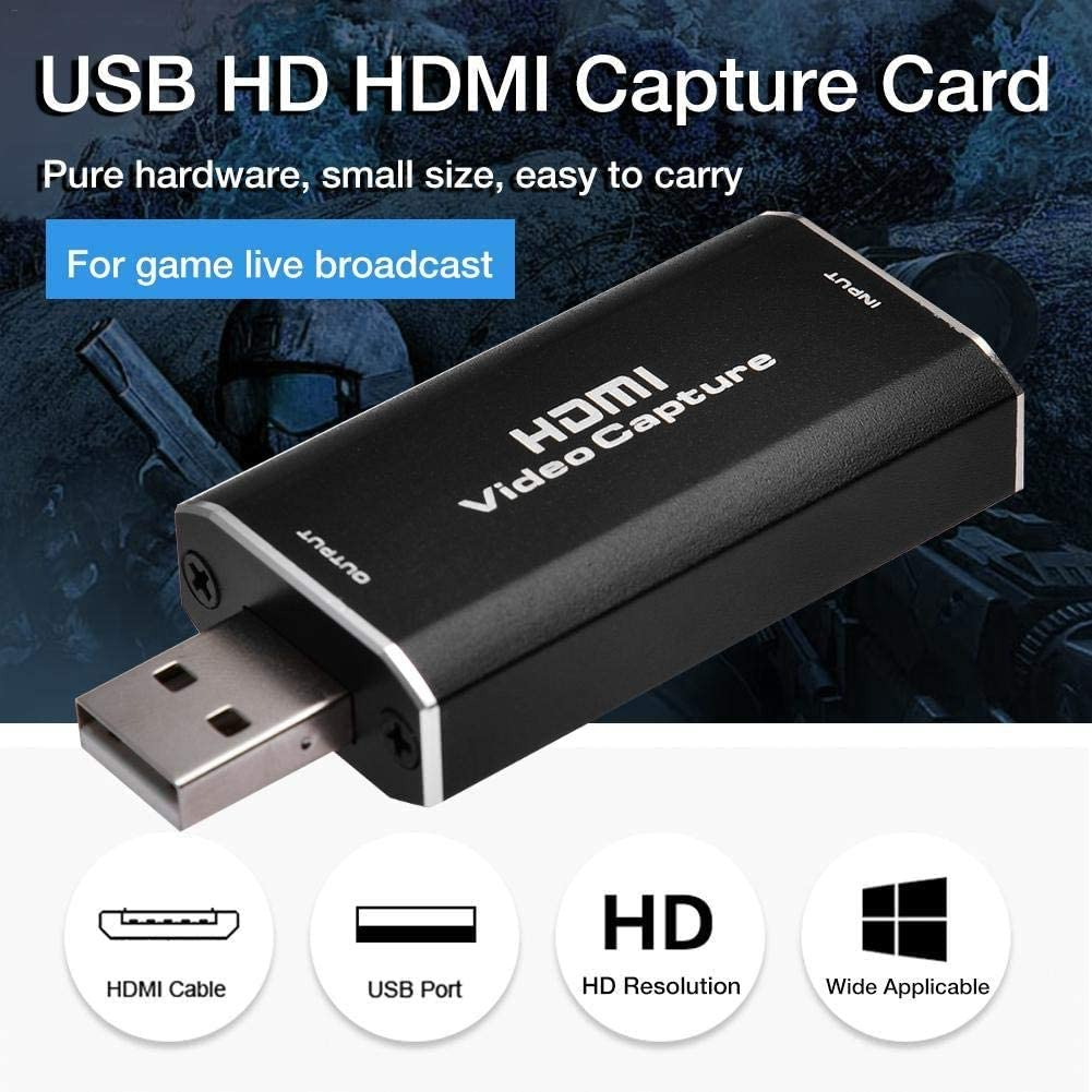 High Definition 1080p 30fps Live Streaming Gaming Teaching Action Cam for Live Broadcasting Video Record via DSLR,Camcorder Video Conference XYUN Audio Video Capture Cards HDMI to USB 2.0