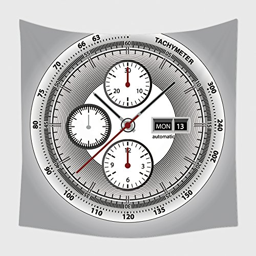Home Decor Tapestry Wall Hanging Wrist Watch Watchface With Chronograph And Tachymeter White Edition Sport Watch for Bedroom Living Room (Date Tachymeter)
