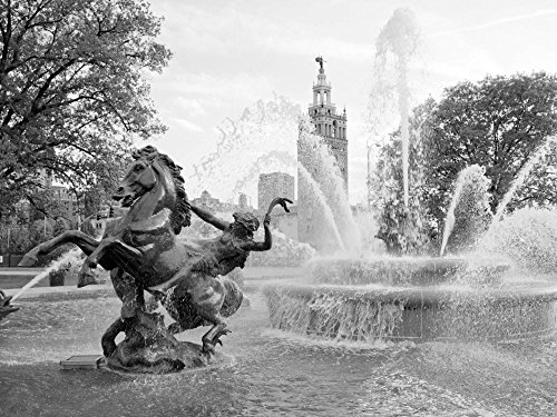 Photo Metal Photography Poster - Water fountain near the Plaza Shopping Mall Kansas ()