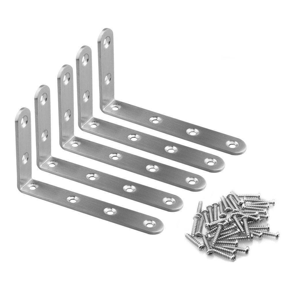Corner Bracket URBEST 5Pcs 125mmX75mm//5 x 3 Stainless Steel Heavy Duty 90 Degree Corner Brace Joint Angle Brackets Shelf Bracket with Installing Screws