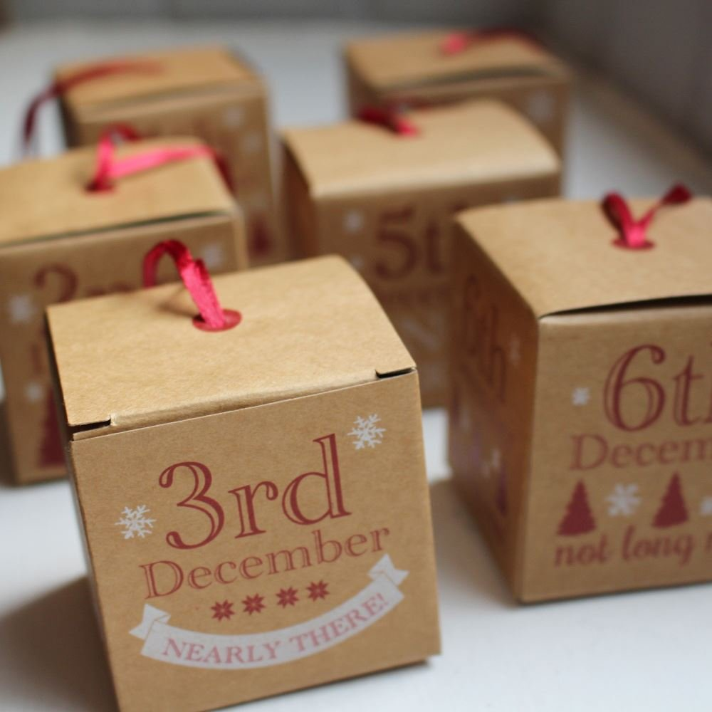 Brown Kraft Advent Boxes 1 - 24 Create your own advent calendar Luck and Luck