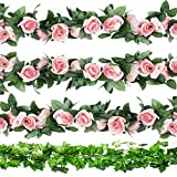 CEWOR 3pcs Artificial Rose Vines and 6pcs Artificial Ivy Artificial Flowers for Wedding Home Garden Party Decoration(Pink Rose)