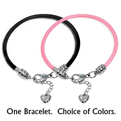 b66f520f3 Amazon.com: Black Leather Charm Bracelet For Women, Fits European Charms,  Steel Lobster Claw Clasp, 7.5 Inch: Arts, Crafts & Sewing