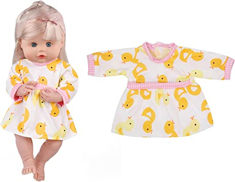 Huang Cheng Toys for 14-15 Inch Lovely Alive Baby Doll Clothes Shoes Handmade Outfits Costumes Dolly Fashion Beautiful Pretty Doll Cloth Dress Shoes Headband and Bag