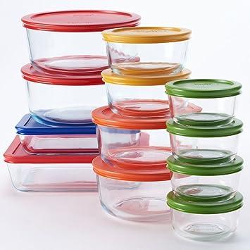 Pyrex 24 Pc. Glass Storage Set With Color Lids