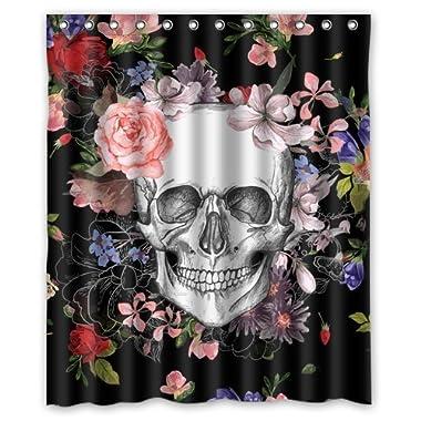 Skull Shower Curtain, Home Decor Bathroom Waterproof Mildew Resistant Black Sugar Skull Flowers Fabric Shower Curtain Bathroom Sets Bath Curtain 60 X 72 Inches