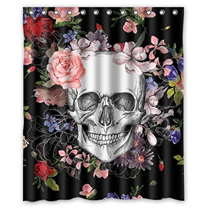 Skull Shower Curtain Home Decor Bathroom Waterproof Mildew Resistant Black Sugar Flowers Fabric
