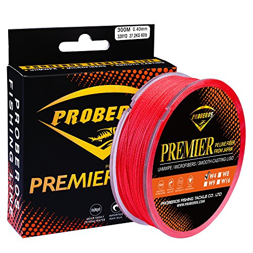 Braided Fishing Line 4 Strands Multifilament PE Superbraid Thinner Diameter Abrasion Resistant Super Power Line 300M Red 50LB