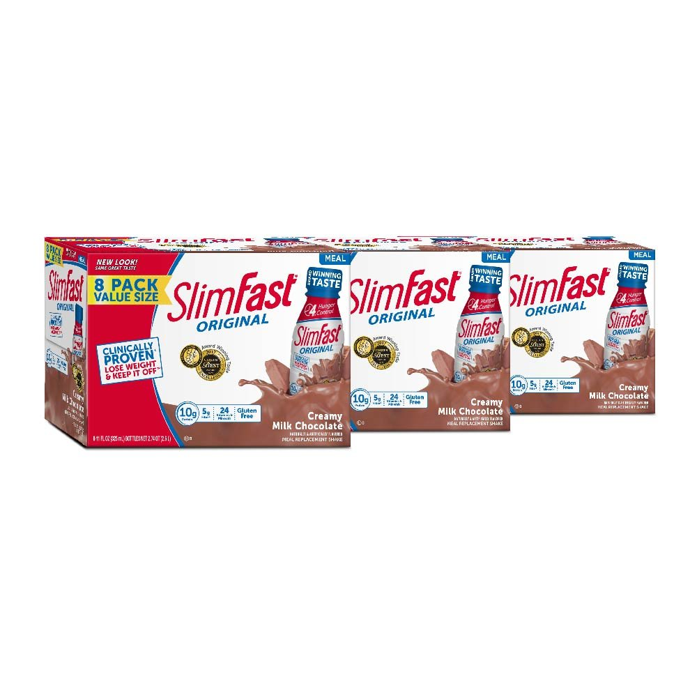 SlimFast Original - Weight Loss Meal Replacement RTD Shakes - With 10g Of Protein & 5g Of Fiber - Plus 24 Vitamins and Minerals per serving - Creamy Milk Chocolate, 8 Count (Pack Of 3)