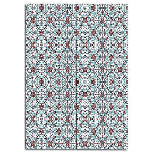 German Majolica - iPrint Door Curtain(Two Panels) Fashion,Vintage,Ethnic Antique Floral Pattern Italian Majolica Style Ornate Illustration,Light Blue Red Green,Personalized Customization,W35.4 xH47.2