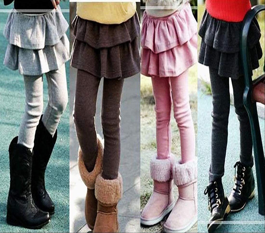 XNN Winter Thick Warm Girls Cute Cotton Skirted Tutu Leggings Pantskirt 3-8Years