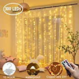 Curtian String Lights, 300 LEDs Window Curtain Fairy Lights Copper Wire Twinkle Star String Lights USB Remote Control 8 Modes Hanging Lights for Bedroom Decor for Indoor Outdoor,Wedding,Party -(Warm)