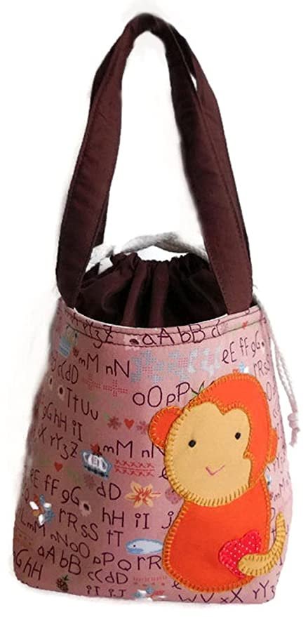 Mono tejer Crochet proyecto bolsa con cierre de cordón, color marrón
