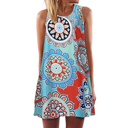 08860502594 Fanteecy Clearance Womens Summer Dress Sleeveless Boho Floral Print Mini  Tank Dress Plus Size Beach Casual