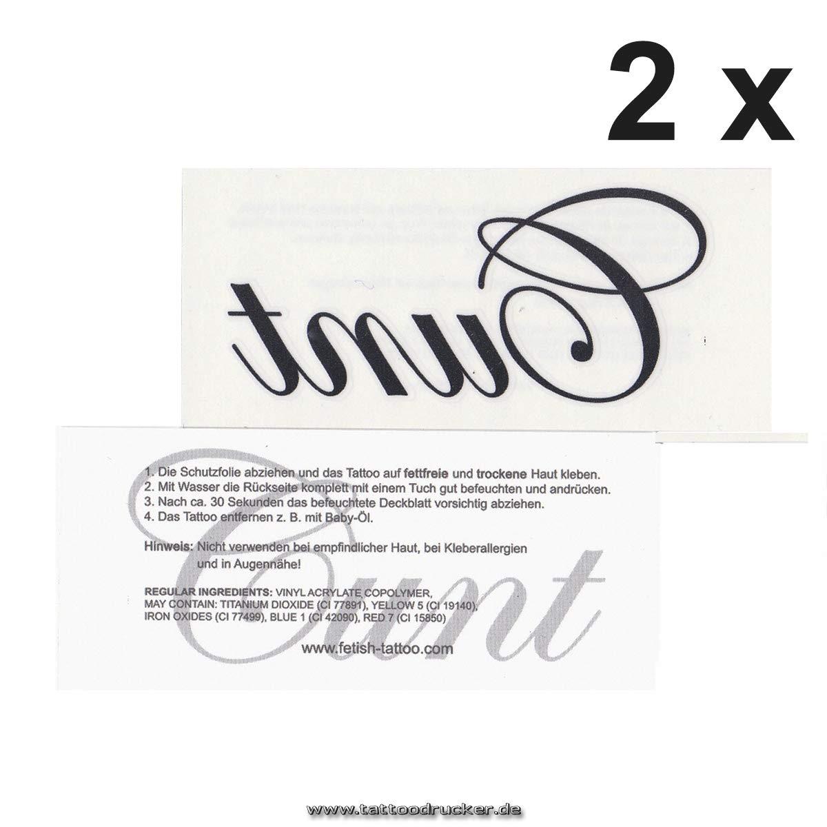 Cunt - Kinky fetiche temporal tatuaje letras en negro: Amazon.es ...