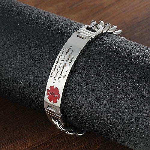 Lam Hub Fong 8.5 Inches Free Engrave Emergency Medical Bracelets for Men Women Alert ID Bracelets For Adults Titanium Steel Medical Alert Bracelets For Men by Lam Hub Fong (Image #1)