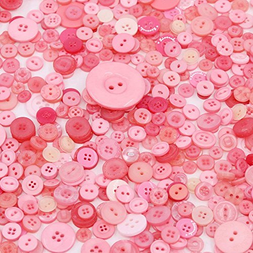 Esoca 650Pcs Resin Pink Buttons Favorite Findings Basic Buttons 2 and 4 Holes Craft Buttons for Arts, DIY Crafts, Decoration, Sewing - Sizes Range from 0.28 to 1.20 inch