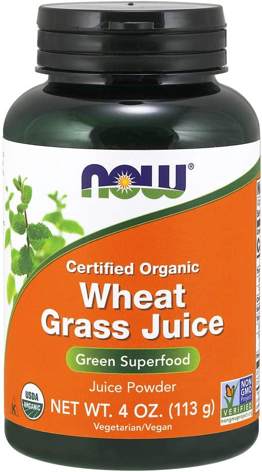 NOW Supplements, Certified Organic and Non-GMO, Wheat Grass Juice Powder,Green Superfood, 4-Ounce