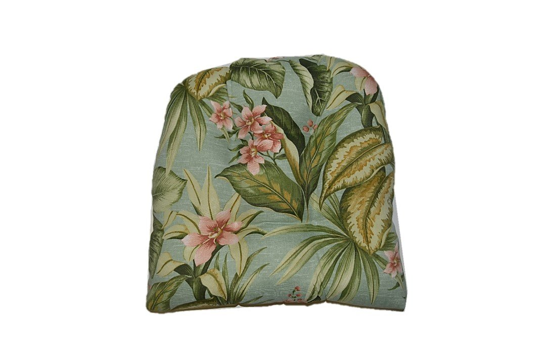 Universal Tufted U-shape Cushion for Wicker Chair Seat - Jamaican Mist Tropical Floral
