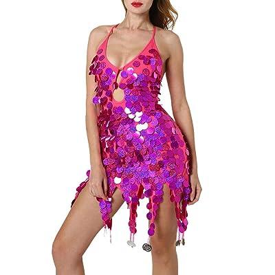 Women's Nightclub Dress Deep V Sequins Sexy Latin Dance Dress Costume Training Dress Dance Practice Skirt (Hot Pink, Free Size-Length:27.1''): Clothing