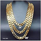 2 Necklace Set Gold chain necklace 9MM (24'' & 30'') Diamond cut. buy once Keep for life