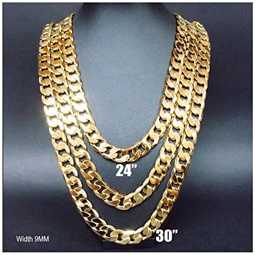 2 Necklace Set Gold chain necklace 9MM (24'' & 30'') Diamond cut. buy once Keep for life by Hollywood Jewelry